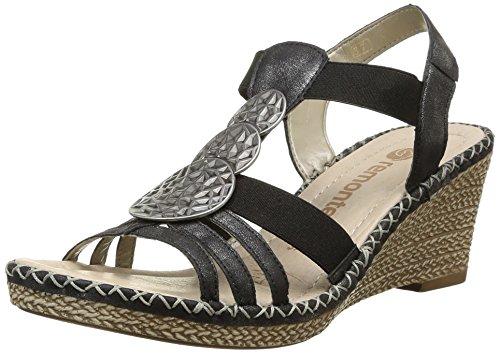 Remonte D6747 - Sandalias de vestir de cuero para mujer negro - Schwarz (graphit 01)