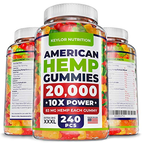 KEYLOR NUTRITION Premium Hemp Gummies - 20000 MG - All Natural Ingredients - Relief for Stress, Inflammation, Sleep, Anxiety, Depression - Vitamins & Omega 3,6,9 - Made in the USA - 240 pcs