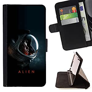For Apple Iphone 4 / 4S Alien Poster Leather Foilo Wallet Cover Case with Magnetic Closure