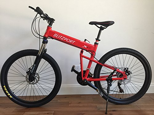 26″ Alloy Folding Mountain bike with Shimano 21 speed and Disc Brakes (Red) Special Price