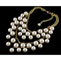 Vogue Trend Woman Luxury multilayer Jewelery Pearl Bubble Bib Statement Necklace 2 Broke Girls NC-09