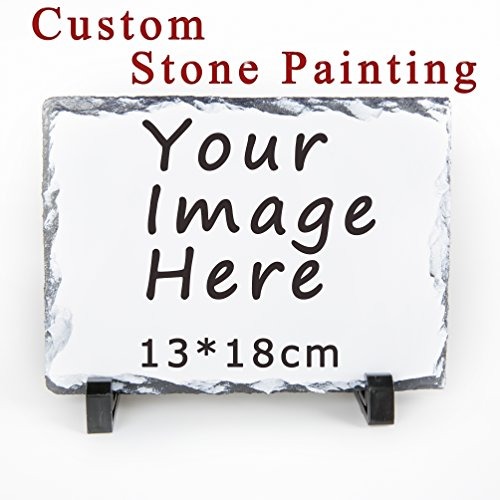 (Helyou Personalized Photo Stone Slate Plaque Picture Frame, Pet Photo Memorial Stone Flagstone, Custom Birthday Baby Birth Valentine's Day for Her/Him/Women/Men/Mother/Dad)