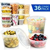 Plastic Food Storage Containers with Lids - Restaurant Deli Cups/Great for Slime, Party Supplies, Meal Prep and Portion Control - Leakproof and Microwave Safe Takeout Set - BPA Free (8, 16, 32 oz)