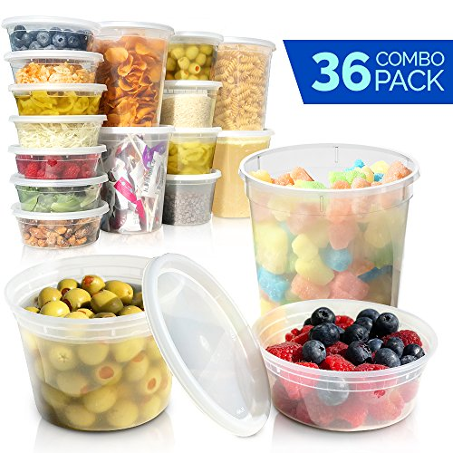 - Deli Containers with Lids - Food Storage Containers - Clear Freezer Containers | 36-Pack BPA Free Plastic 8, 16, 32 oz | Cup Pint Quart set | Great for Soup, Meal Prep, Portion Control, Slime and More