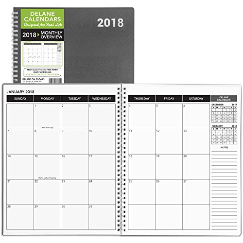 2018 Monthly Daily Planner Calendar / Appointment Book, Grey Cover, 8.5 x 11 inches, 15 Months
