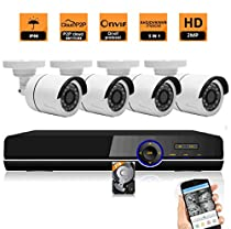 4 Channel 1080P 5 in 1 DVR 4 HD 1080P Night Vision Indoor/Outdoor CCTV Surveillance Bullet Camera AHD Home Security DVR Camera System Including 2TB HDD