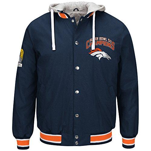 [Denver Broncos NFL Men's Super Bowl 50 Champions Commemorative Cotton Canvas Jacket with Detachable Hood] (Super Ray Costume)