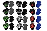 S.W.A.K. Boys Soft Winter Magic Gloves Assorted - 12 Twin Packs - 24 Pairs of Printed Gloves