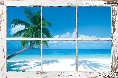 Buyartforless Tropical Window - Palm Tree and Ocean 36x24 Art Print Poster