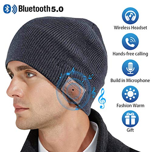 Upgraded Bluetooth Beanie Hat,V5.0 Wireless Headphones Headset Music Hat Unisex Winter Knit Cap Built-in Stereo Speakers Microphone Siri Unique Christmas Tech Gifts for Boyfriend Women Men(Gray)