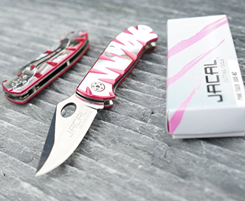 Jacal Pink Tiger Premium Pocket Knife, 2.8 Inch Straight Blade, Hiking, Camping, Outdoor Use, Utility, Survival, Hunting, Everyday Carry, Lifetime Guarantee