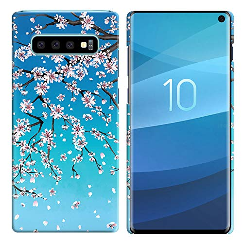 FINCIBO Case Compatible with Samsung Galaxy S10 6.1 inch, Back Cover Hard Plastic Protector Case Stylish Design for Galaxy S10 (NOT FIT S10 Plus) - Falling Cherry ()