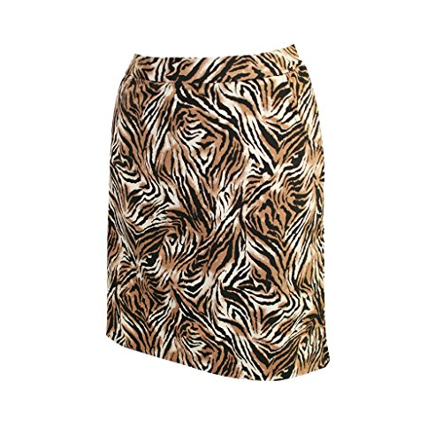 Monterey Club Ladies Stretchable Tiger Print Satin Skort #2878 (Taupe/Black, Size:4)