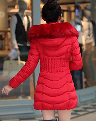 Coat Thicken Long Down Parka Hooded up Padded Women's Overcoat Winter Fur Warm Slim Jacket Outerwear Red ZhuiKun Faux Zip 4fXq6x