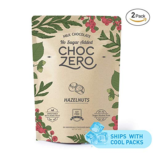 ChocZero's Keto Bark, Milk Chocolate Hazelnuts, No Added Sugar, Low Carb, No Sugar Alcohols, Non-GMO (2 bags, 6 servings/each) (Premium Belgian Chocolate Truffles)