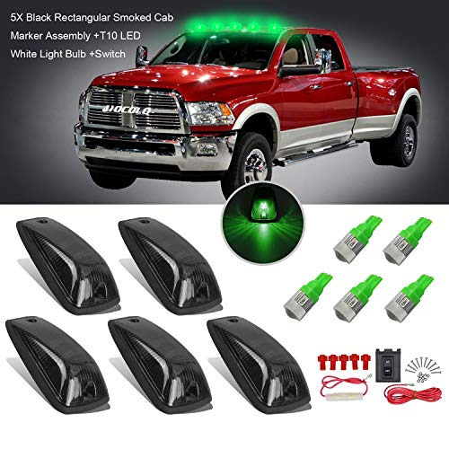 (5x Black Smoked Cab Maker Green Light Assembly -HOCOLO Roof Running Light Cover Base +Green T10 LED Light Bulbs Replacement +Switch for 1988-2002 GMC Chevy C1500 C2500 C3500 K1500 K2500 K3500 Pickup )