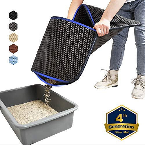 WePet Cat Litter Mat, Kitty Litter Trapping Mat, Large Size, Honeycomb Double Layer, No Phthalate, Urine Water Proof, Easy Clean, Scatter Control, Catcher Litter Box Pads Rug Carpet 30x25 Inch Grey