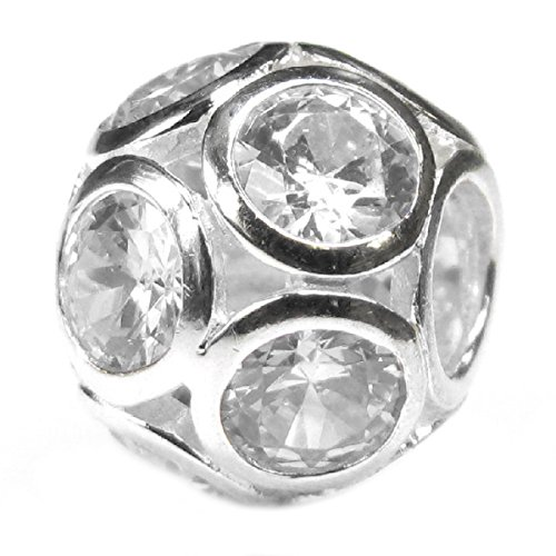 Sterling Silver Ball Cubic Zirconia Simulated April Birthstone European Style Bead Charm (April Silver Ball)