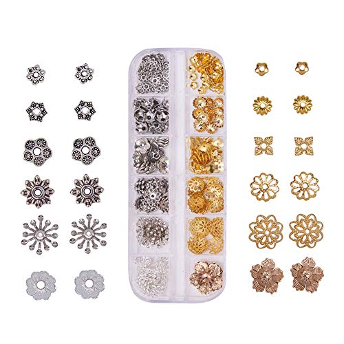 PandaHall Elite About 313 Pcs Alloy and Brass Filigree Flower Bead Caps End Cap12 Styles for Jewelry Making Mixed Colors ()