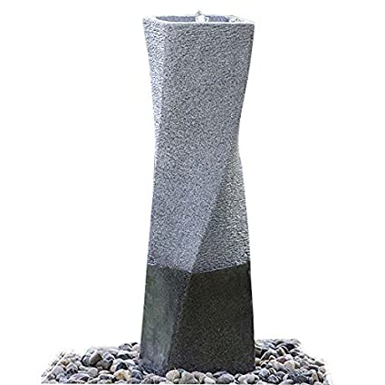 Cast Stone Garden Fountain in Fiberglass/Polyresin Simple Twisted Column  Water Fountains With LED Light For Outdoor or Indoor 35 5