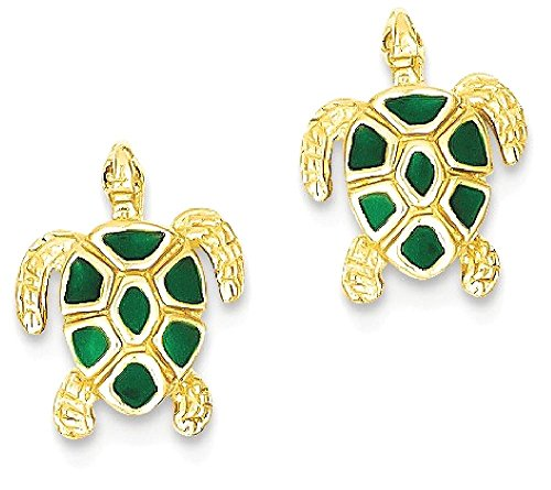 ICE CARATS 14k Yellow Gold Green Enameled Sea Turtle Post Stud Earrings Animal Life Reptile Fine Jewelry Gift Set For Women (Green Enameled Turtle)