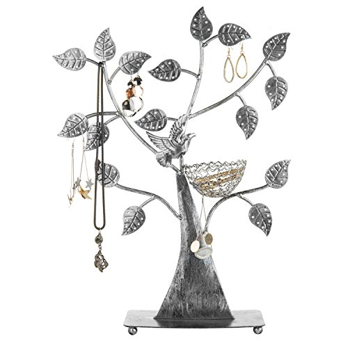 MyGift Silver Metal Jewelry Tree with Bird Nest - Holds up to 48 pair (Birds Nest Tree)