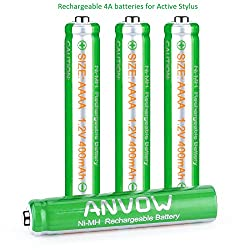AAAA Batteries, ANVOW Rechargeable AAAA Batteries for Surface Pen, Rechargeable AAAA Battery for Active Stylus, Ni-MH 1.2V 400mAh with Storage Box (4-Pack)
