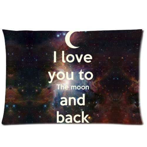Houseware ART I Love You Quotes I Love You To The Moon And Back Cotton Polyester Pillowcase Standard 16x24 (one side) Pillow Cover