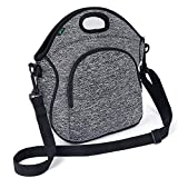 Neoprene Lunch Bag F40C4TMP Washable Reusable Lunch Tote with Adjustable Shoulder Strap Front Zipper Pocket for Adults Men Kids (5L)