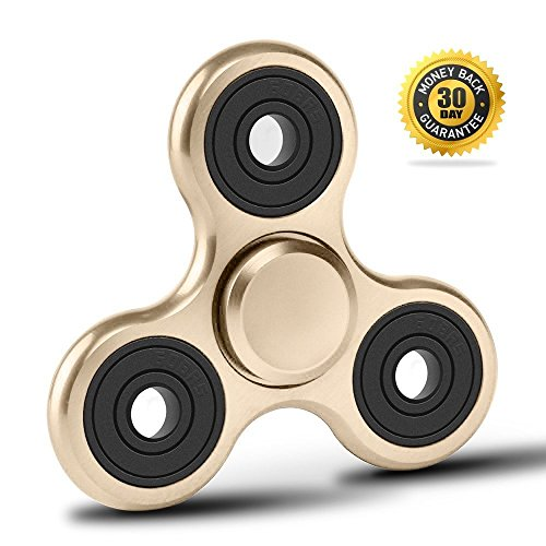 Vivahouse Fidget Spinner | Hand Spinner Stress and Anxiety Relief Toy | ADHD, Autism, ADD | Promotes Calming Clarity and Focus | Quiet, Spinning Aluminum Alloy Gadget | Pocket Size (Sugary Gold)