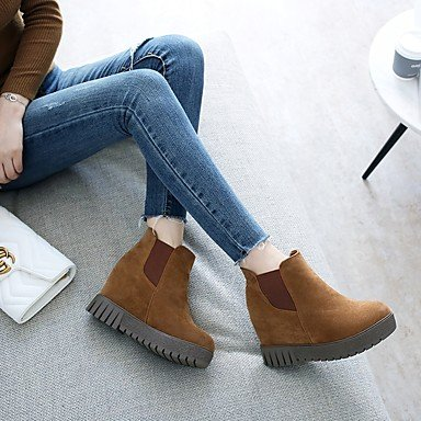 DESY Damen Schuhe Nubukleder Herbst Winter Komfort Stiefel Flacher Absatz Runde Zehe Für Schwarz Beige Braun brown