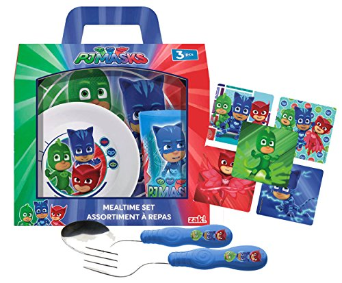 Collector Character Plate (Zak! Designs Kids Mealtime Set Includes Plate, Bowl, Tumbler Cup, Fork & Spoon Flatware Set! Featuring PJ MASKS Graphics! BPA-free, 5 Pc Set. Plus Bonus Collector Stickers!)