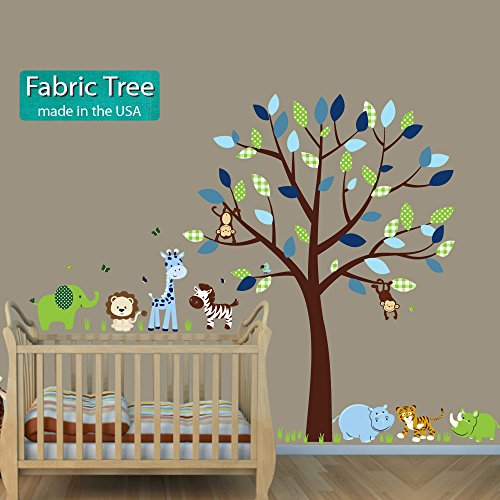 Tiger Decal, Animal Decal, Elephant, Lion, Giraffe, Hippo, Fabric Tree Stickers, Green Envy -