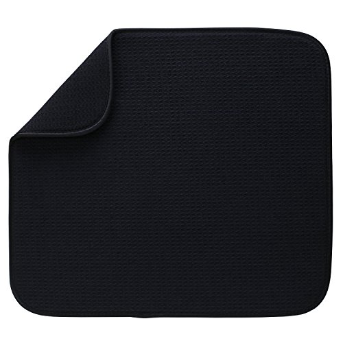 "S&T Microfiber Dish Drying Mat, 16"" x 18"", Black"