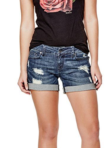 GUESS-Factory-Womens-Monet-Cuffed-Denim-Midi-Shorts