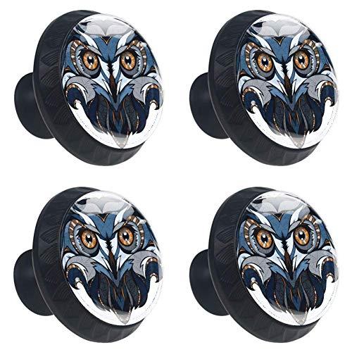 jessgirl Cool Owl Head Drawer Knobs Handles Pulls for Cupboard Dresser Office with Screws DIY(Pack of 4)