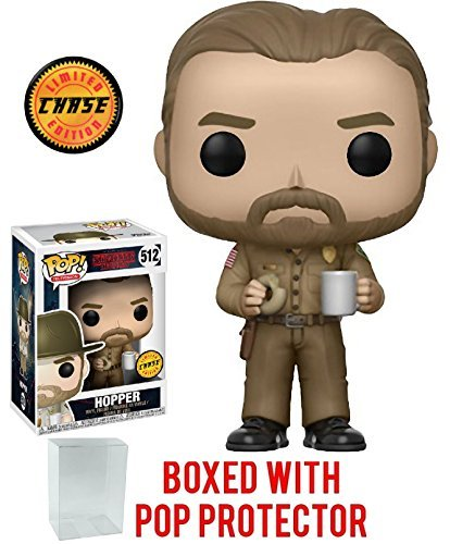 - Stranger Things Hopper with Donut Pop! Vinyl Figure Chase Variant and (Bundled with Pop BOX PROTECTOR CASE)