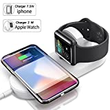 Apple Watch Charger,Qi Wireless Fast Charger,NOIHK Wireless Charger Charging Pad for iPhone 8/8 Plus/X and Apple Watch Series 2/3,Ultra-thin 2in1 Apple Charging Pad Stand for Samsung Qi-Enabled Device