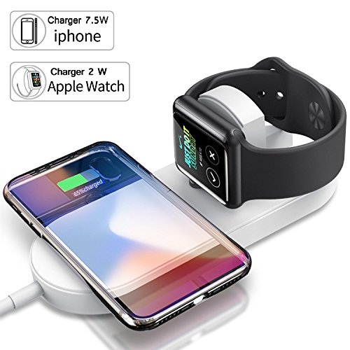 Apple Watch Charger,Qi Wireless Fast Charger,NOIHK Wireless Charger Charging Pad for iPhone 8/8 Plus/X and Apple Watch Series 2/3,Ultra-thin 2in1 Apple Charging Pad Stand for Samsung Qi-Enabled Device by NOIHK