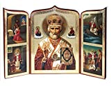 Orthodox Wooden St Saint Nicholas Triptych Russian Icon 10 1/2 Inch