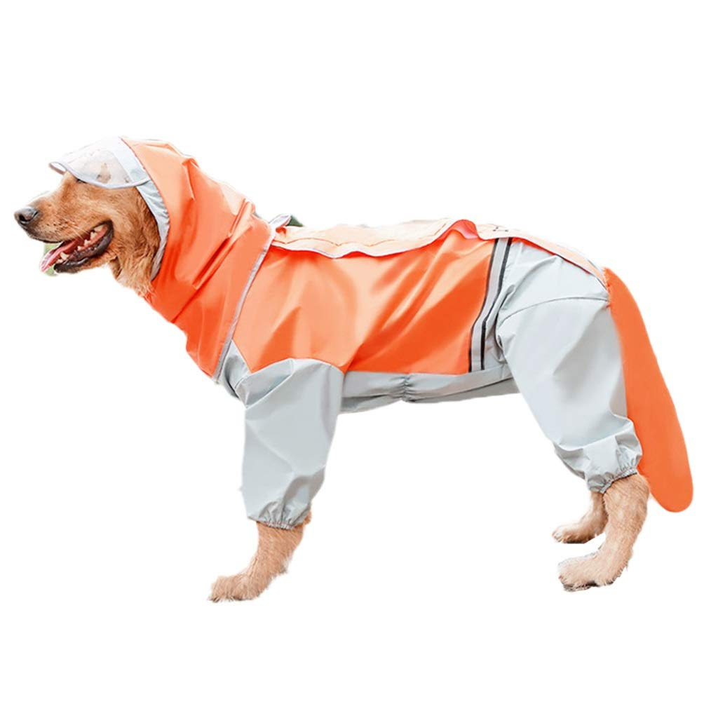 Raincoat Dog Poncho Large Four Feet Waterproof Reflective All-Inclusive Pet Orange MUMUJIN (Size : 6XL-64cm)