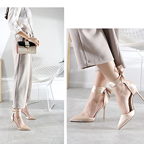 Womens Cross Straps High Heels Sommer Sandalen Party Hochzeit Pumps Damen Klassische Brautjungfer Schuhe Champagne8CM