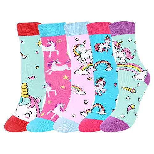 Zmart Girls Socks Funny Kids Unicorn Animal Llama Mermaid Food Socks Gift Box