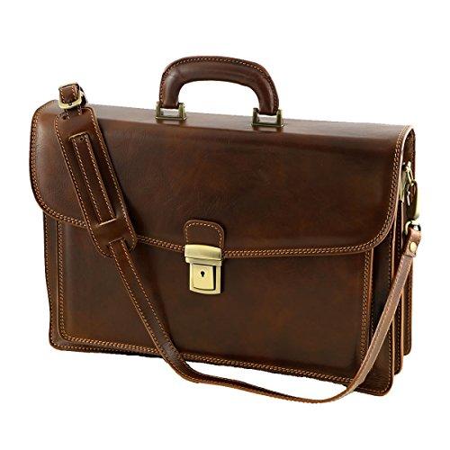 Aktentasche aus Echtleder - 4023 Braun - Echtes Leder Taschen - Mega Tuscany