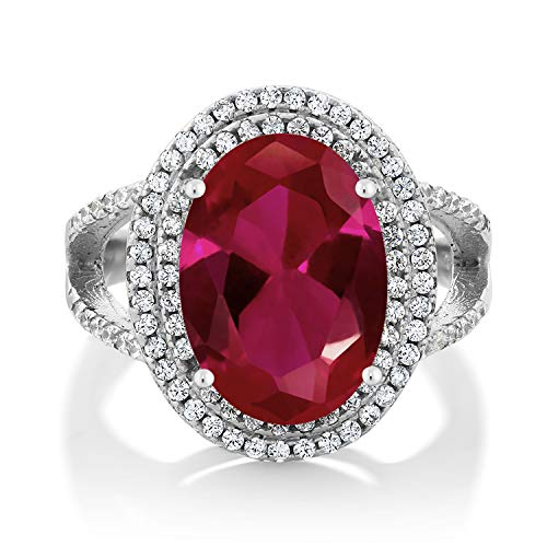 Gem Stone King 925 Sterling Silver Red Created Ruby Women