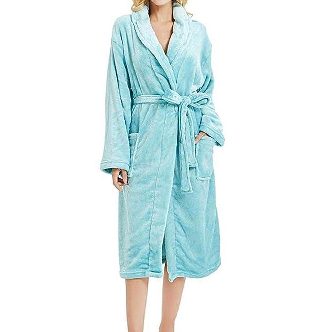 VJGOAL Invierno Mujer Moda Casual Bata de Noche Suave Felpa Transpirable Albornoz Ropa de Dormir Manga Larga Bata de baño con Cordones Pijamas Bata: ...