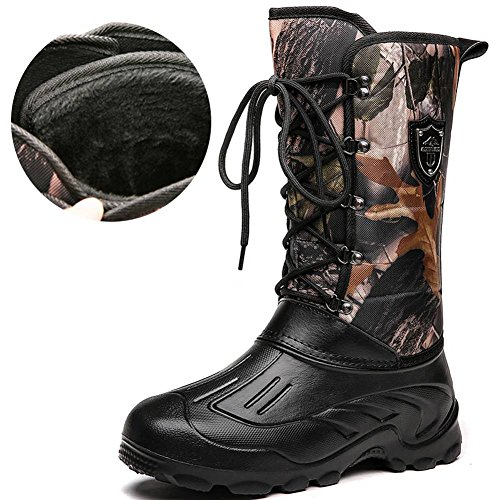 YUNGOD Men's Winter Snow Boots for Cold Weather Fashion Outdoor Footwear Waterproof Insulated Black