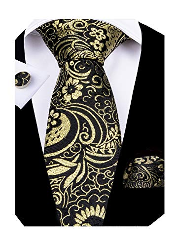 DiBanGu Black and Gold Paisley Tie and Pocket Square Men's Woven Necktie Silk Handkerchief and Clip - Silk Paisley Tie Gold