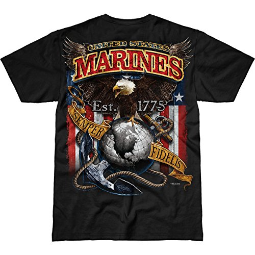 7.62 Design USMC 'Fighting Eagle' Men's Battlespace T-Shirt,Black,Medium