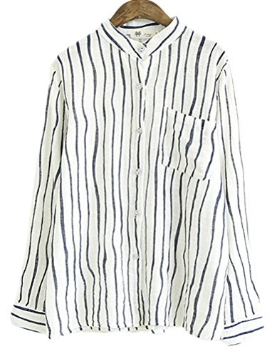 Soojun Ladies Stripe V-Neck Cotton Linen Shirts Top Blouses Long Sleeve, Large - Stripe Cotton Top Blouse